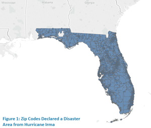 Zip Codes Declared a Disaster Area from Hurricane Irma