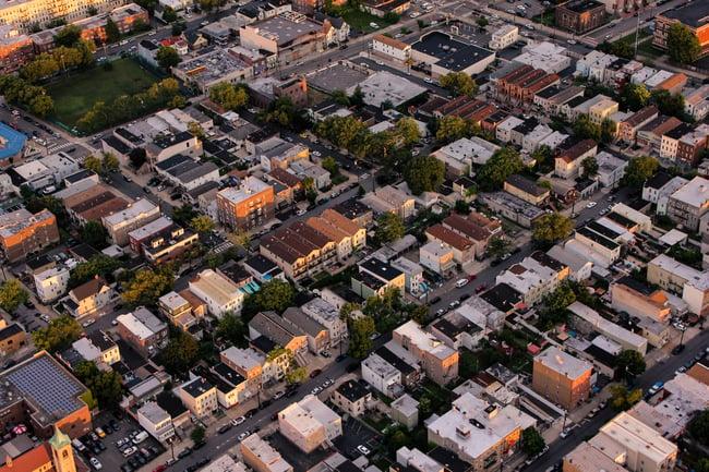 Aerial shot of urban community